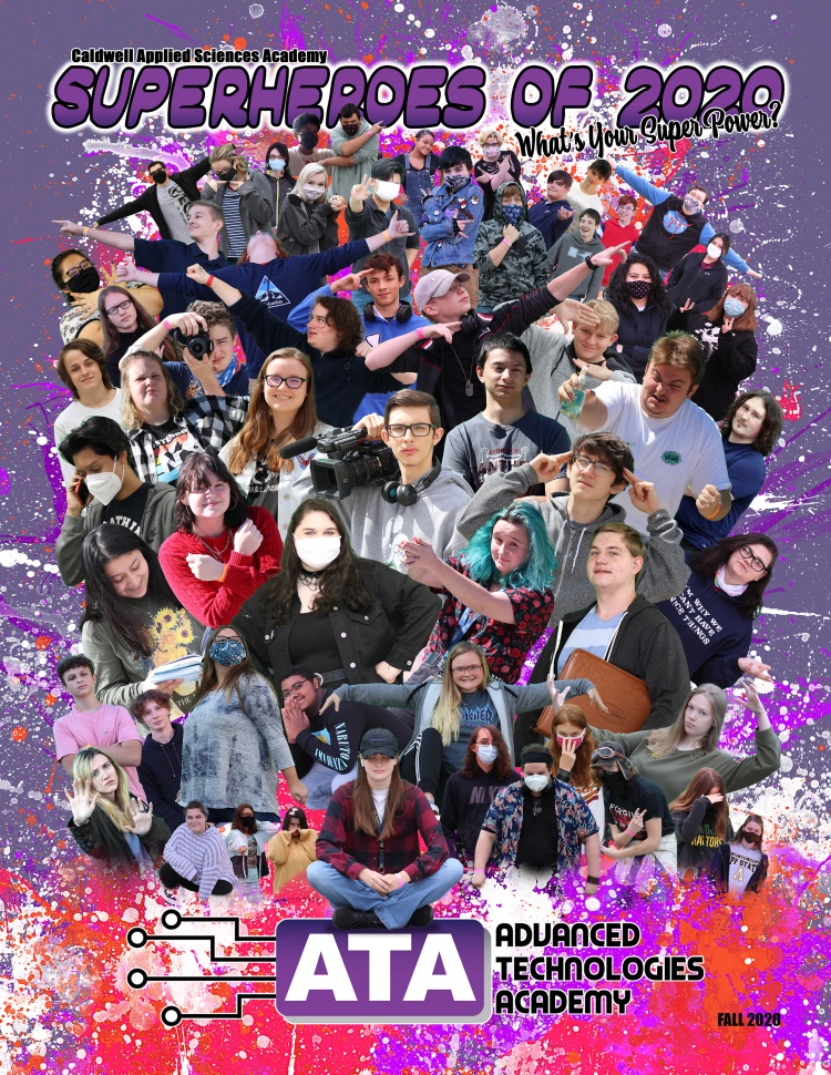 A poster with all the academy students on it in a big group